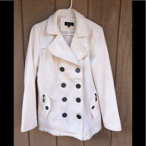 White peacoat large jacket coat